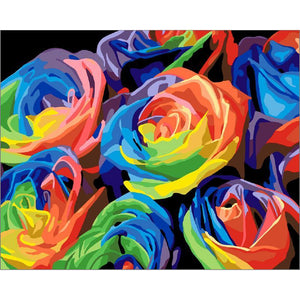 multicolor roses adult diy paint by numbers kit