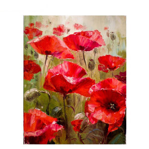 abstract red poppy flowers adult diy paint by numbers kit