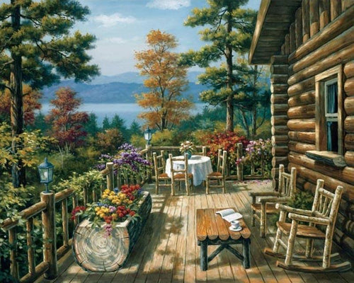 beautiful log cabin adult diy paint by numbers kit