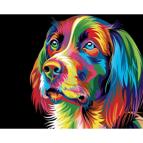multicolor dog adult diy paint by numbers kit
