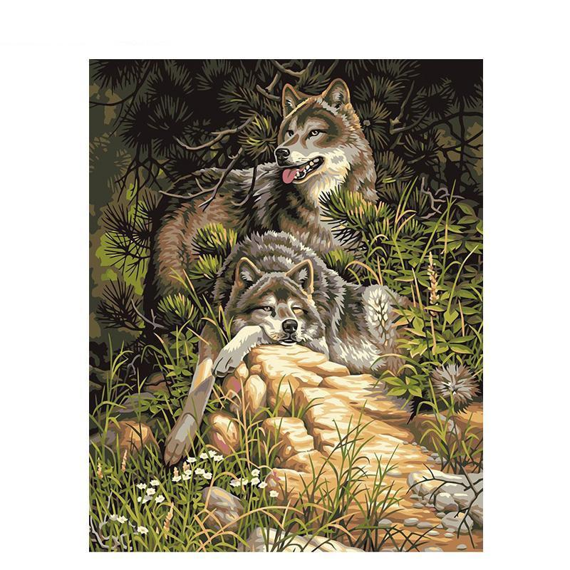 wolves relaxing adult diy paint by numbers kit