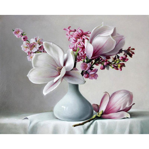 magnolia flowers adult diy paint by numbers kit