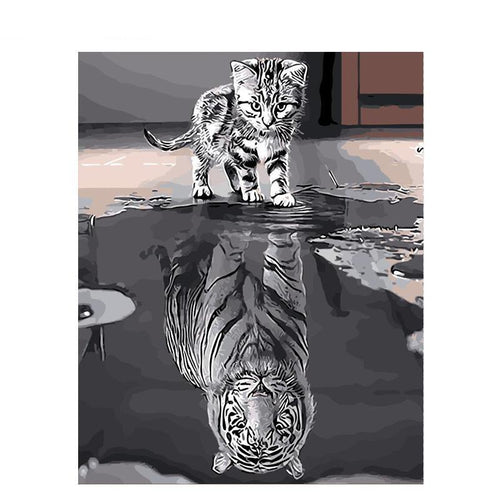 kitten and tiger reflections adult diy paint by numbers kit