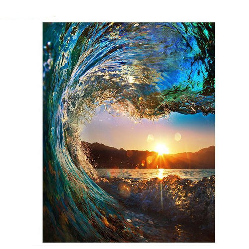 wave at sunset adult diy paint by numbers kit