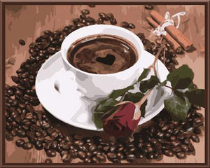 coffee and a rose adult diy paint by numbers kit