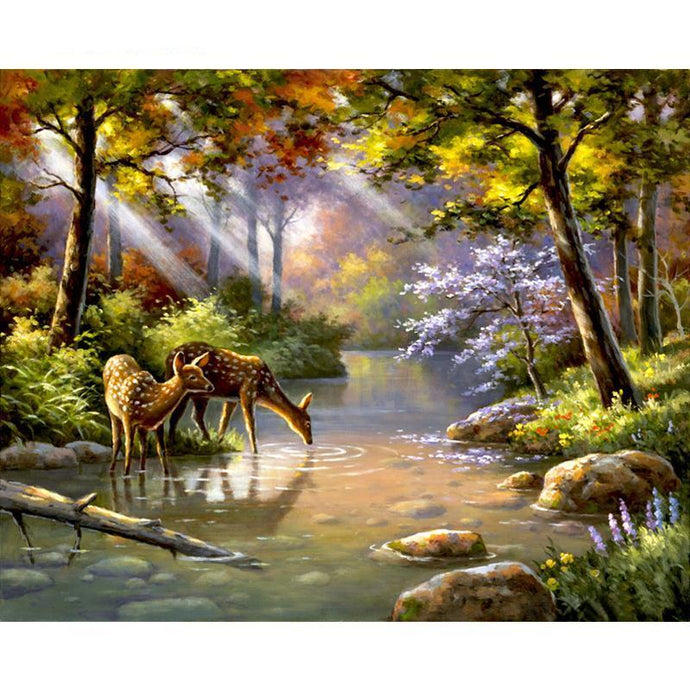 deer drinking from the river adult diy paint by numbers kit