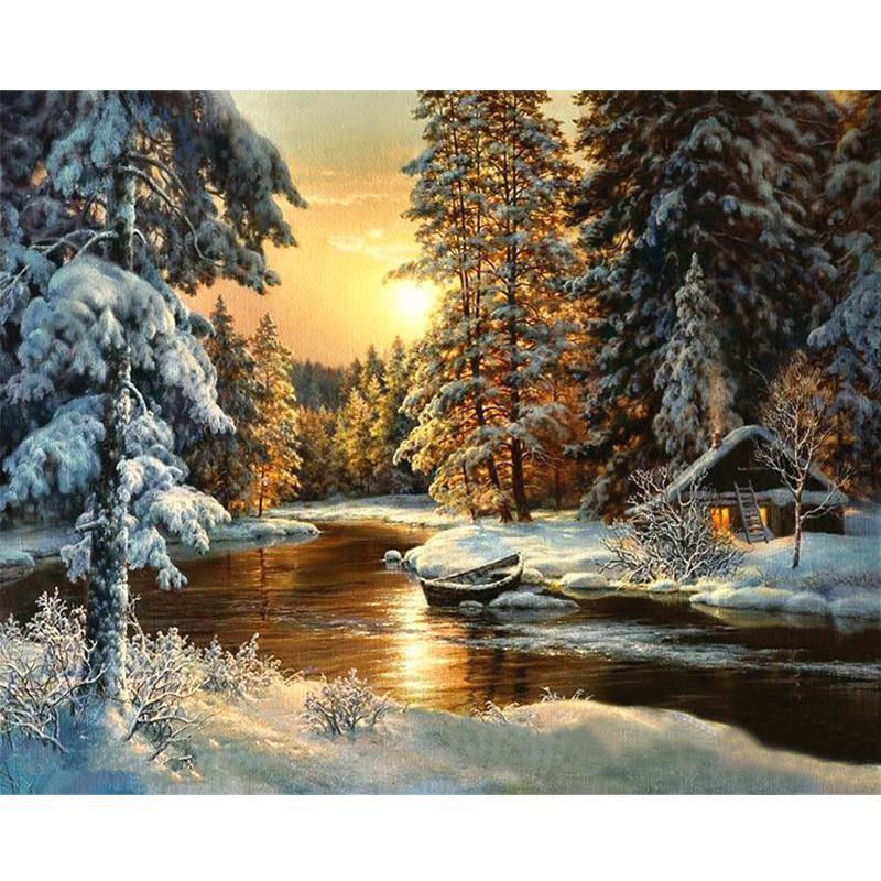 Winter forest with cabin on a lake paint by number labs for Pre printed canvas to paint for adults