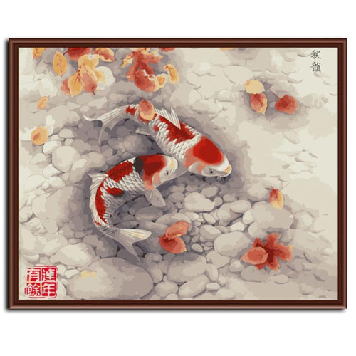 read and white goldfish in a pond adult diy paint by numbers kit