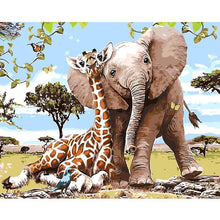 elephant and giraffe adult diy paint by numbers kit