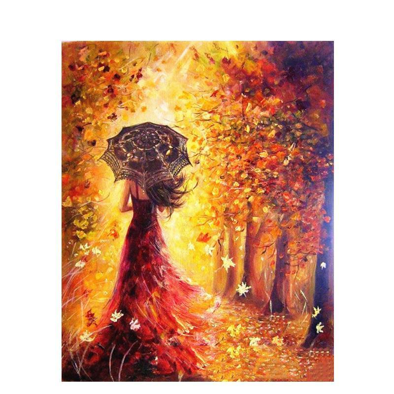 beautiful woman walking in autumn adult diy paint by numbers kit