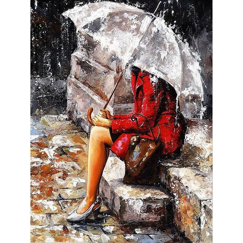 woman sitting in the rain adult diy paint by numbers kit