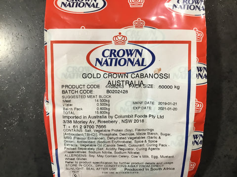 Crown National Gold Cabanossi 0.6kg - SEASONING SPICE