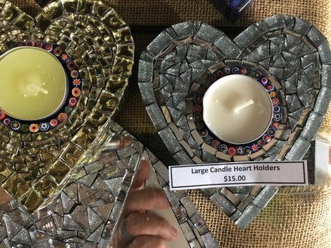 Mosaic Large Candle Holders Heart X 3 $12