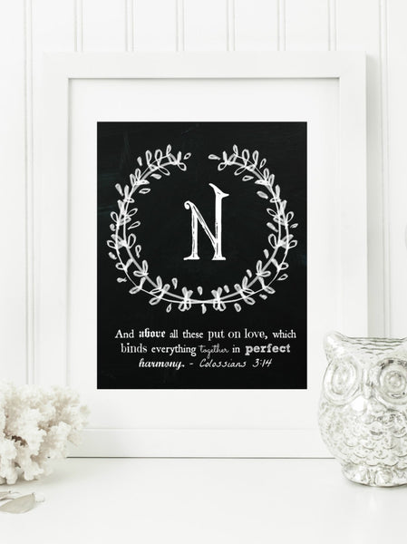 "Instant Download: Family Monogram Scripture Chalkboard Wall Art Print 8x10 Typography Letter ""N"" Printable Home Decor"