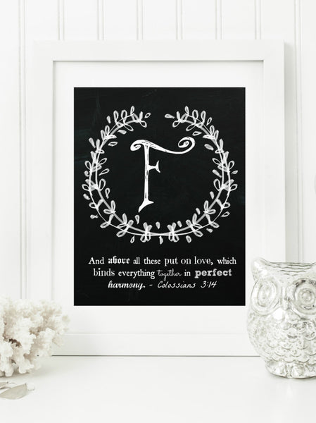 "Instant Download: Family Monogram Scripture Chalkboard Wall Art Print 8x10 Typography Letter ""F"" Printable Home Decor, & Binder Cover"