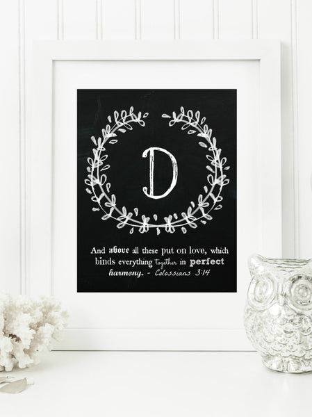 "Instant Download: Family Monogram Scripture Chalkboard Wall Art Print 8x10 Typography Letter ""D"" Printable Home Decor"