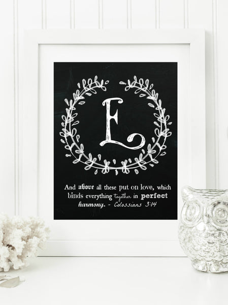 "Instant Download: Family Monogram Scripture Chalkboard Wall Art Print 8x10 Typography Letter ""E"" Printable Home Decor"