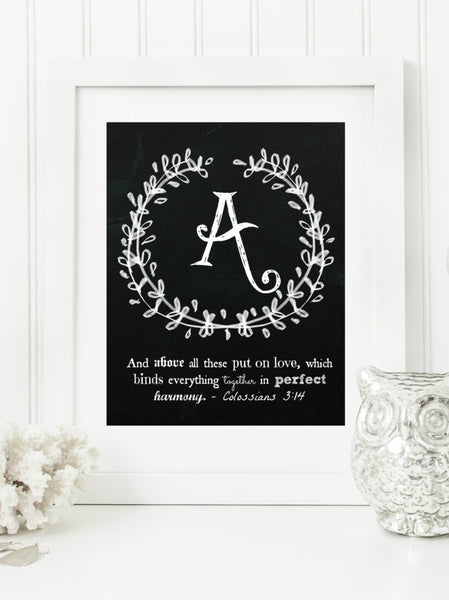 "Instant Download: Family Monogram Scripture Chalkboard Wall Art Print 8x10 Typography Letter ""A"" Printable Home Decor, & Binder Cover"