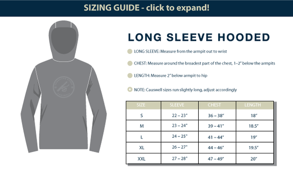 Causwell Tee Sizing Guide