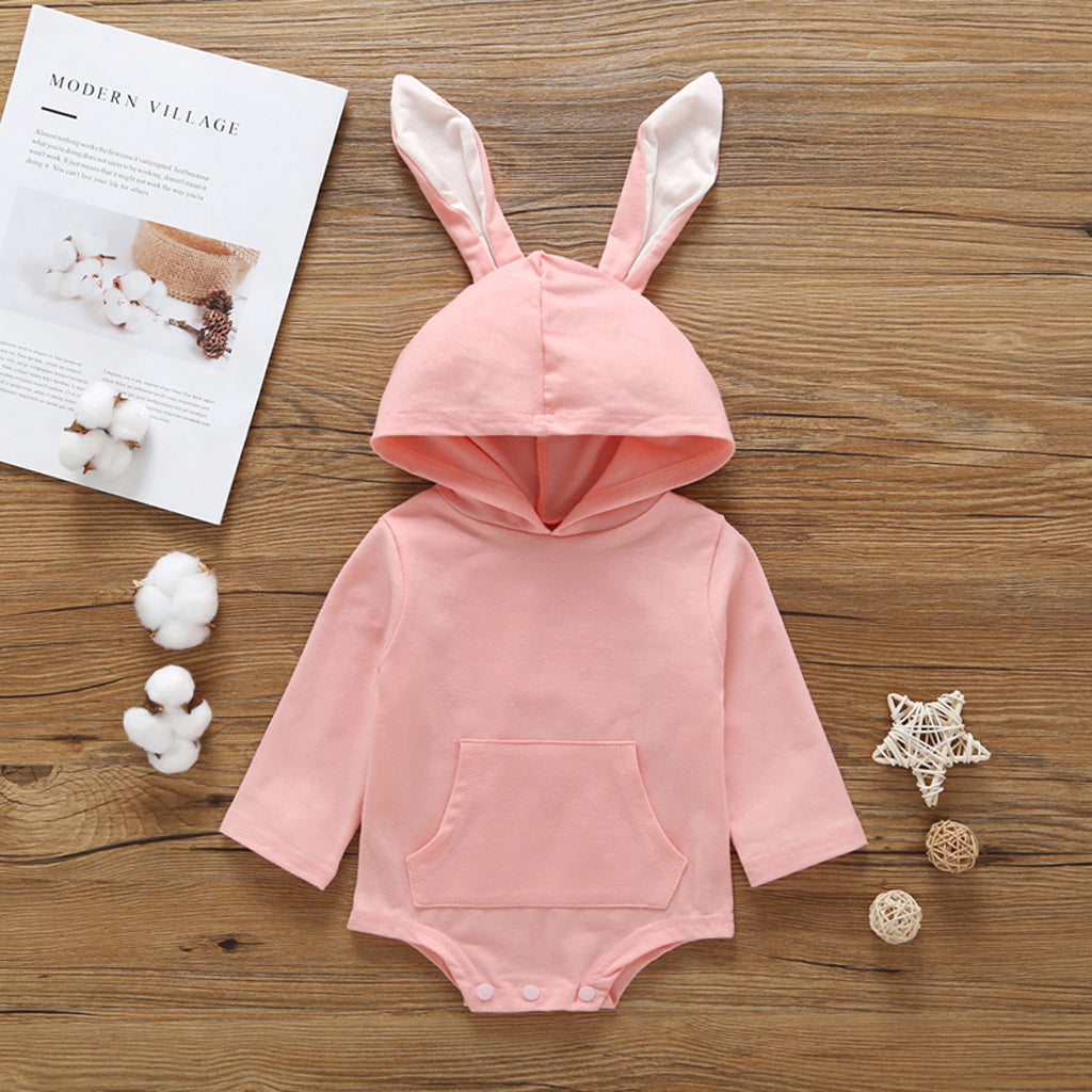 CUTE LITTLE BABY RABBIT BUNNY HOODED ONESIE ROMPER