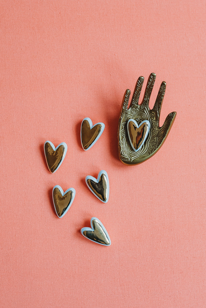 Set of two gold heart pin = Collab with Meg Does Pottery