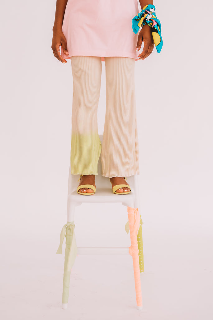 Flared Tricot Pants with dipped neon cuff