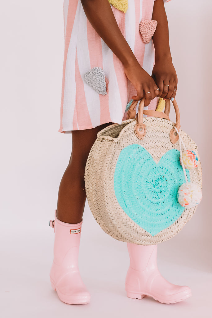 Round  Straw Bag with Leather Straps and Poms by Poppy Joy Pompoms