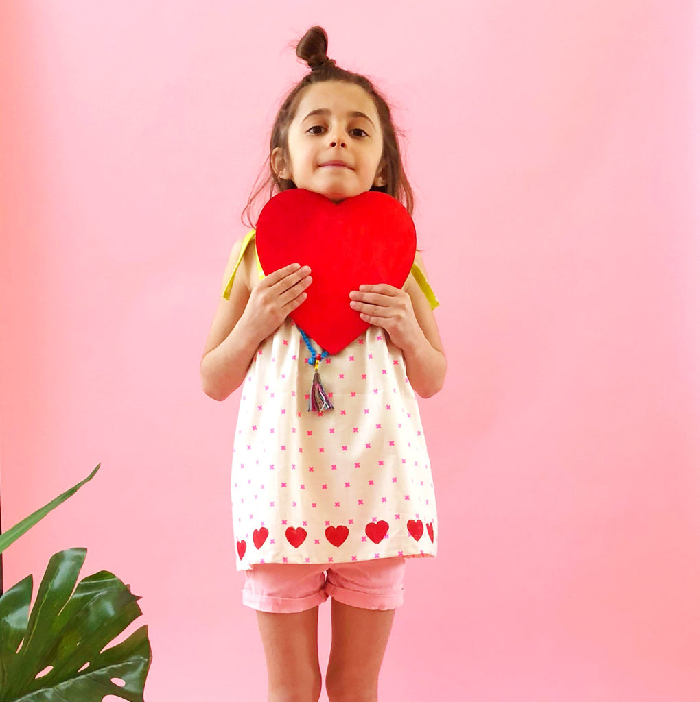 Lola Top with  Hand Block Printed Hearts