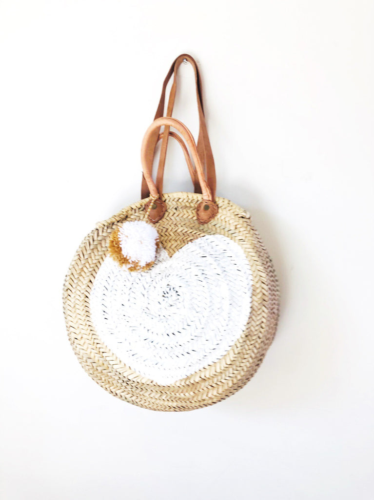 Round  Straw Bag with handle and shoulder Leather Straps