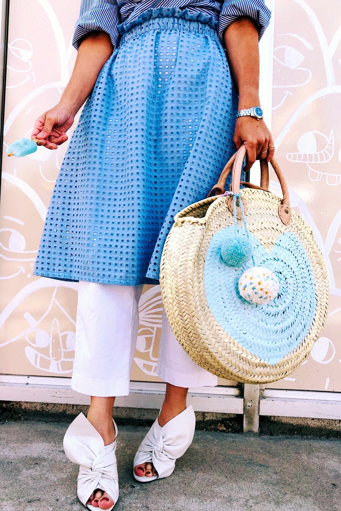 Phoebe Midi Skirt - Powder Blue Eyelet