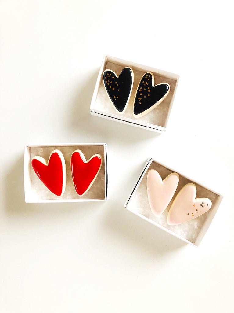Heart Pins Collab with Meg Does Pottery - Set of two pins - Colours