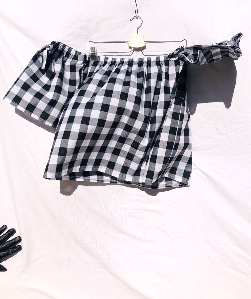 Black Brigitte Gingham Off Shoulder Top