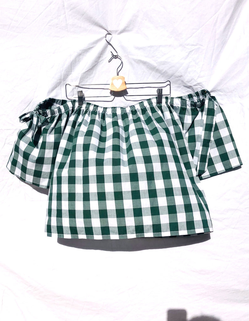 Forest Green Brigitte Gingham Off Shoulder Top