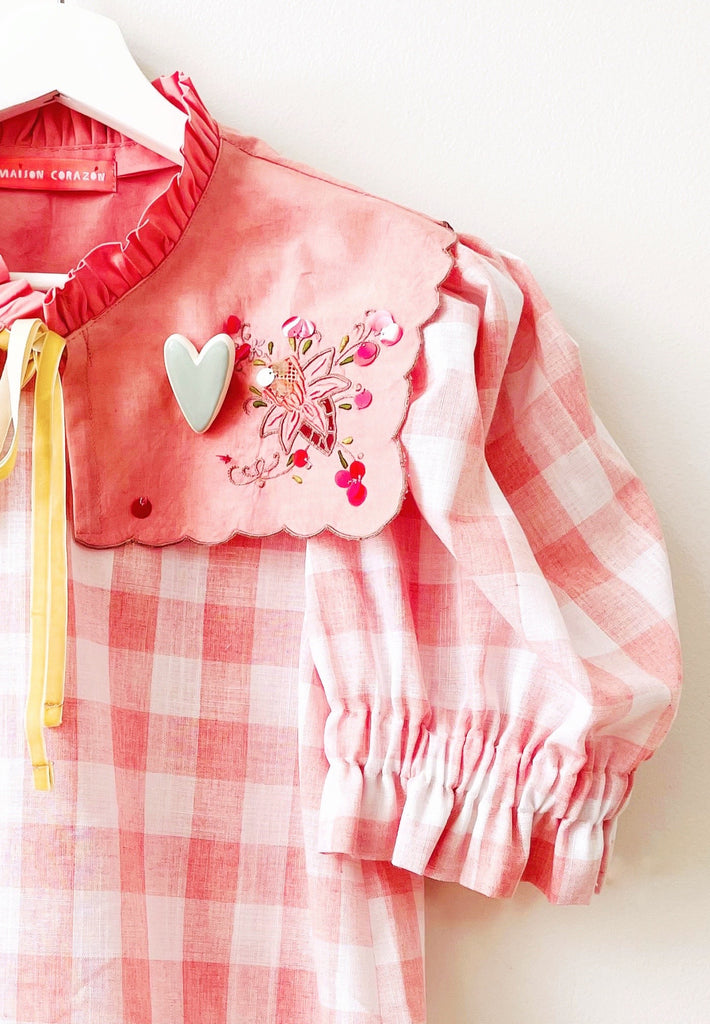 Gingham Charlotte Blouse in Blush Pink