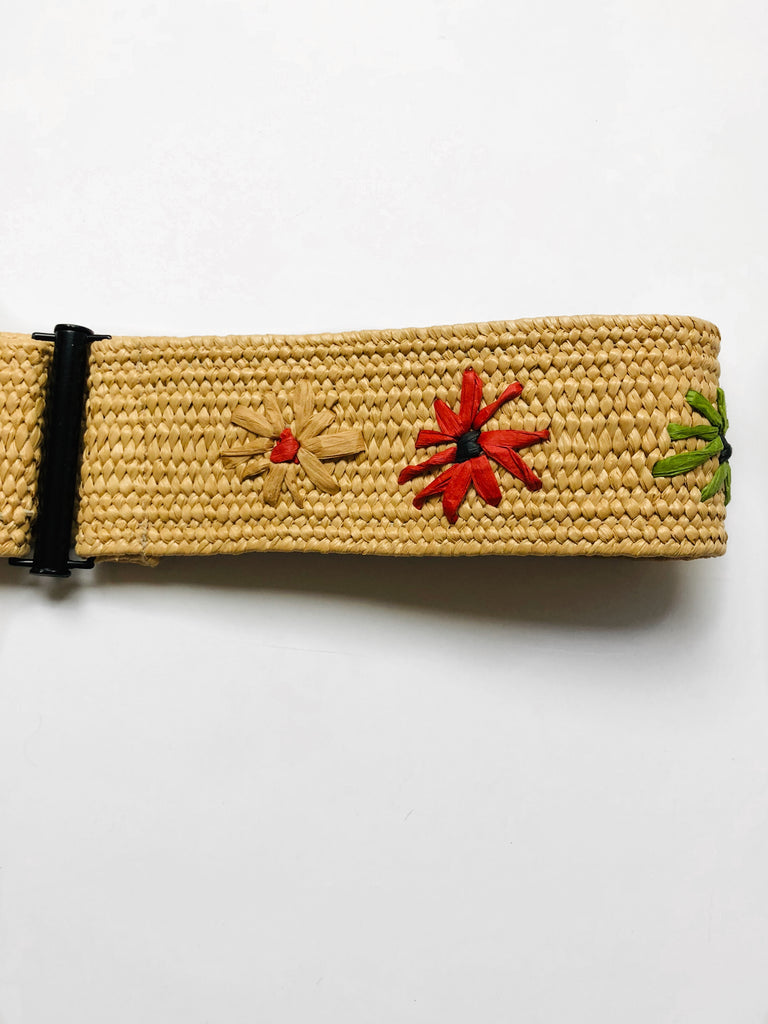 Embroidered Raffia Belts