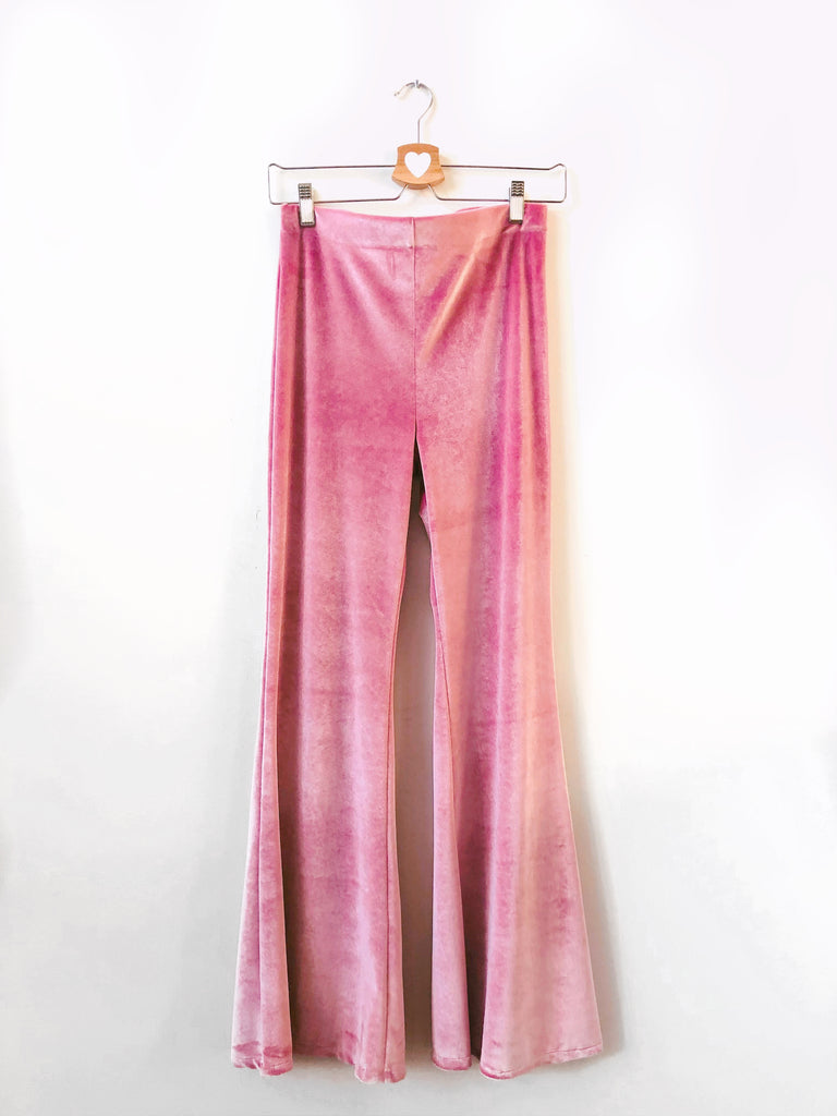 Farrah Velvet flared pants in Mauve