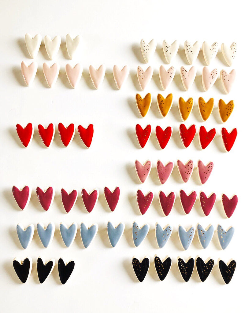 Heart Pins Collab with Meg Does Pottery - Set of two pins - Ask me what colours I have left -