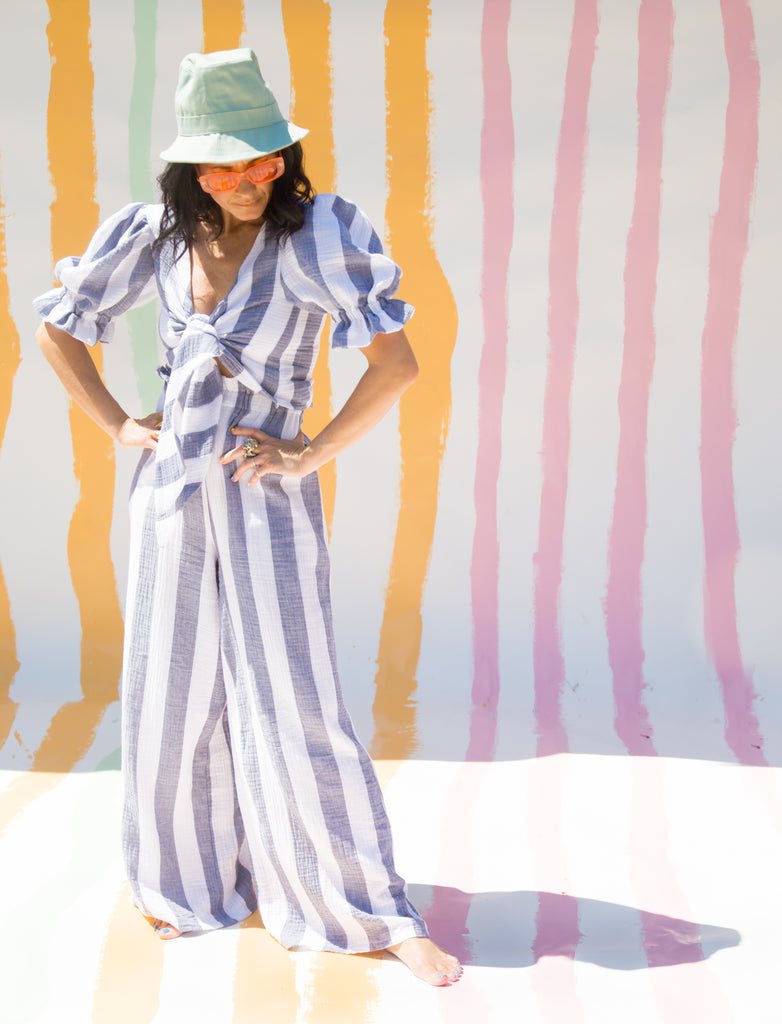 Romeo Wide Leg Pants in Casablanca Navy Stripes