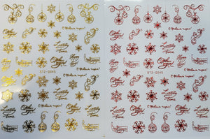 """Christmas Spirit"" Gold/Red Nail Stickers (9 Styles)"