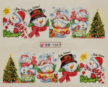 """Jolly Snowmen"" Water transfer nail decals"