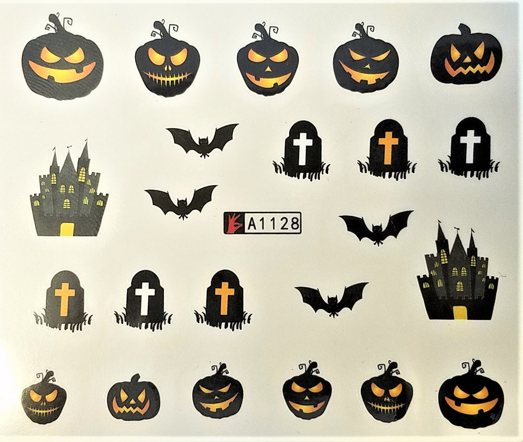 Pumpkin/Bat/HauntedHouse/Grave Stone Design Water Transfer Nail Decals