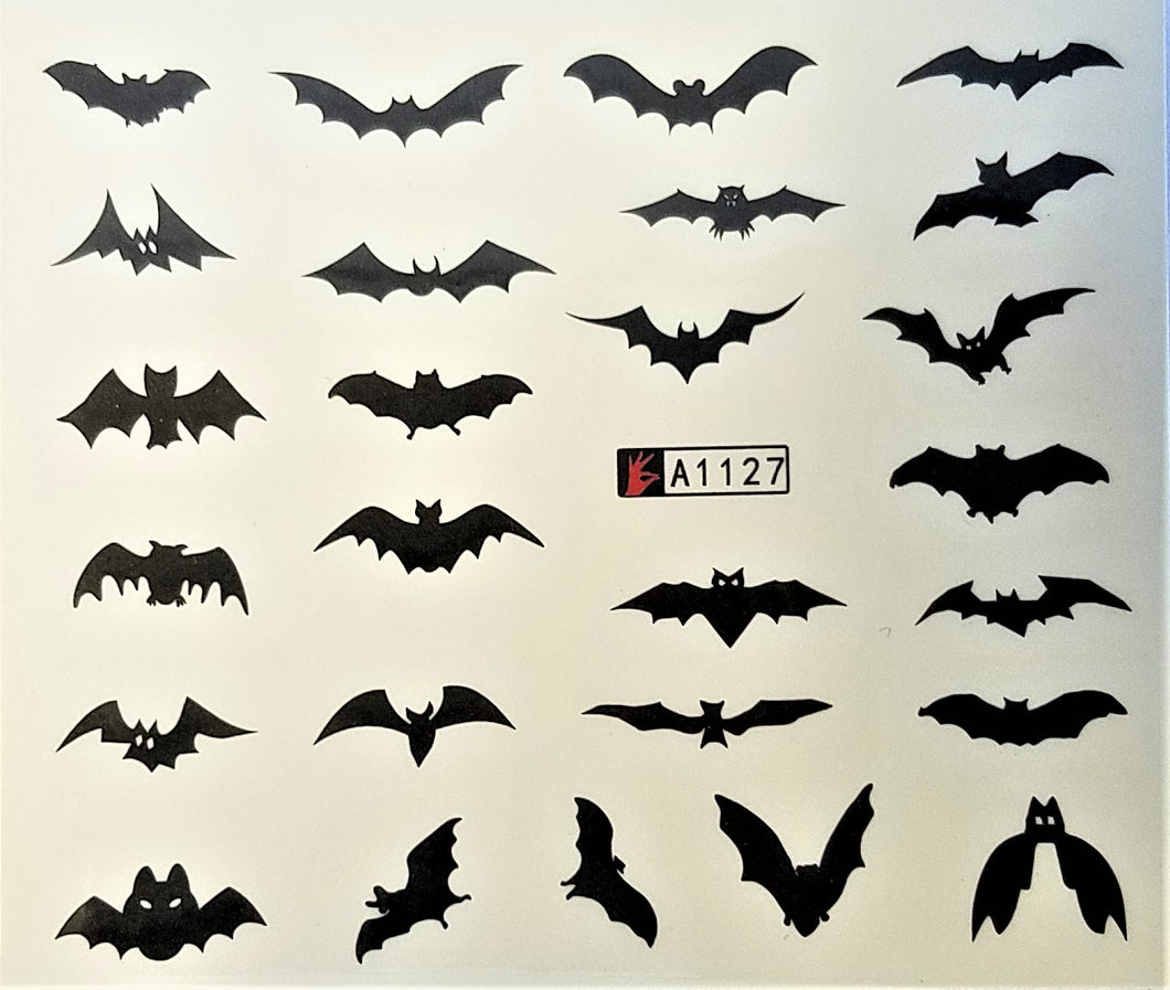 Bat Design Water Transfer Nail Decals