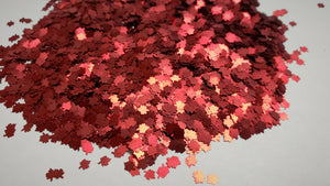 Red Satin Leaf Glitter