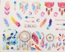 Feather / Dream catcher water transfer nail decals (12styles)