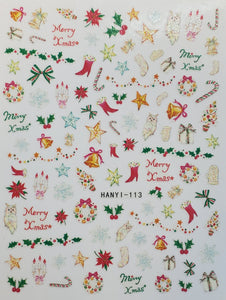 """Merry Xmas"" Water transfer nail decals"