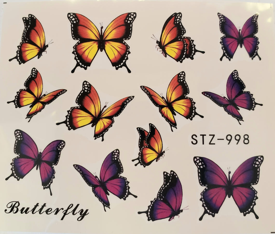 Butterfly water transfer nail decals STZ-998