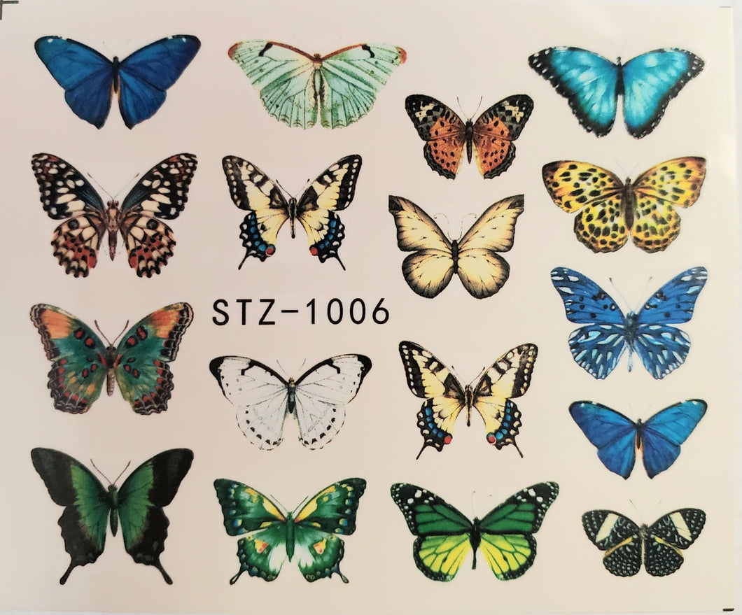 Butterfly water transfer nail decals STZ-1006