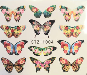 Butterfly water transfer nail decals STZ-1004