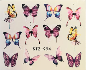 Butterfly water transfer nail decals STZ-994
