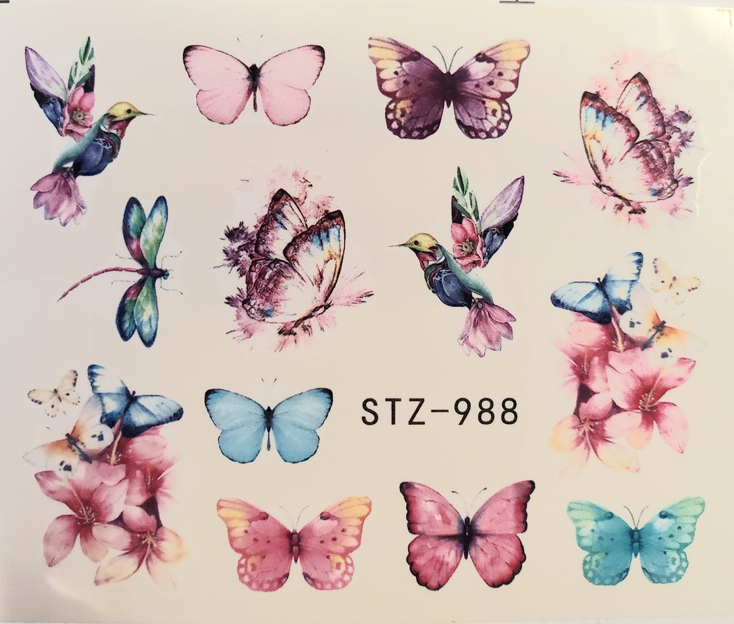 Butterfly water transfer nail decals STZ-988